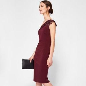 NWT Ted Baker One-Shoulder Jalis Burgundy Dress